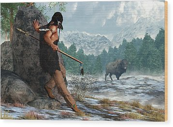 Indian Hunting With Atlatl Wood Print