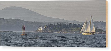 Wood Print featuring the photograph Indian Island Lighthouse - Rockport - Maine by Marty Saccone