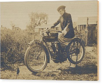Wood Print featuring the photograph Indian Motorcycle Woman Rider by Paul Ashby Antique Images