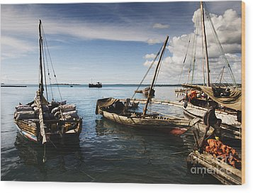 Indian Ocean Dhow At Stone Town Port Wood Print