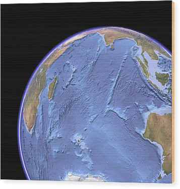 Indian Ocean, Sea Floor Topography Wood Print by Science Photo Library