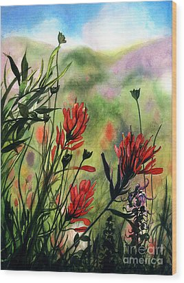 Indian Paint Brush Wood Print by Barbara Jewell