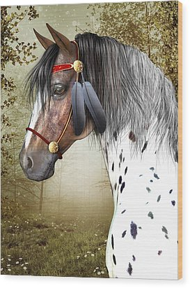 Wood Print featuring the digital art The Indian Pony by Jayne Wilson