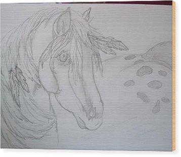 Indian Pony Wood Print by Rosalie Klidies