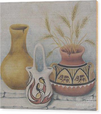 Indian Pots Wood Print by Summer Celeste