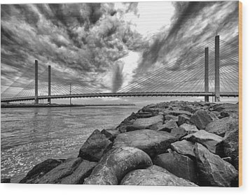 Indian River Bridge Clouds Black And White Wood Print by Bill Swartwout