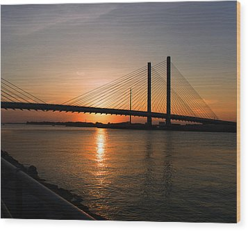 Indian River Bridge Sunset Reflections Wood Print by Bill Swartwout