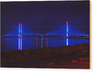 Indian River Inlet Bridge After Dark Wood Print by Bill Swartwout