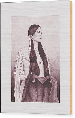 Indian Sioux Maiden Wood Print by Billie Bowles