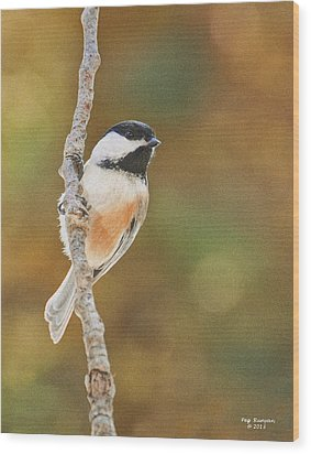 Indian Summer Chickadee Wood Print