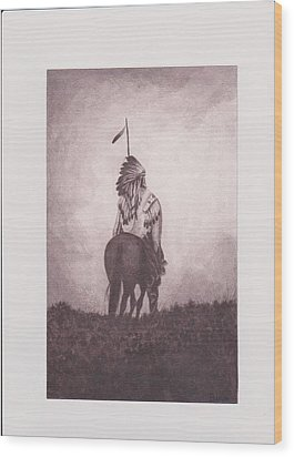 Indian Sunset Of Dying Race Wood Print by Billie Bowles