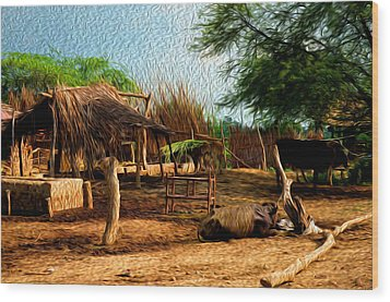 Indian Village Wood Print by Deepti Chahar