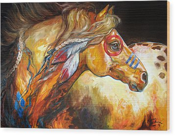 Indian War Horse Golden Sun Wood Print by Marcia Baldwin