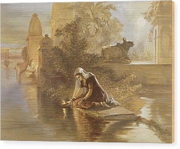 Indian Woman Floating Lamps Wood Print by William 'Crimea' Simpson