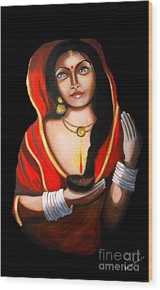 Indian Woman With Lamp Wood Print by Saranya Haridasan