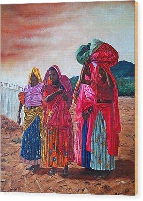 Indian Women Wood Print