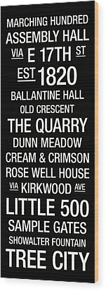 Indiana College Town Wall Art Wood Print by Replay Photos
