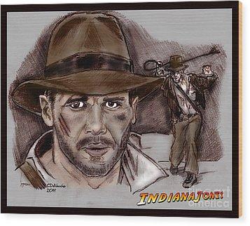 Indiana Jones Wood Print by Chris  DelVecchio