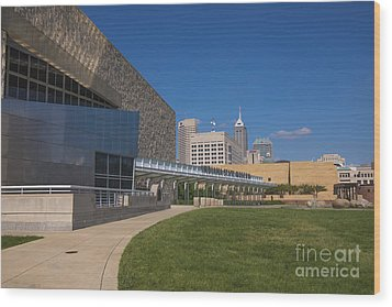 Indiana State Museum And Indianapolis Skyline Wood Print by David Haskett