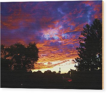 Indiana Sunset Wood Print