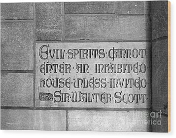Indiana University Memorial Hall Inscription Wood Print by University Icons