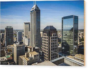Indianapolis Aerial Picture Of Downtown Office Buildings Wood Print by Paul Velgos