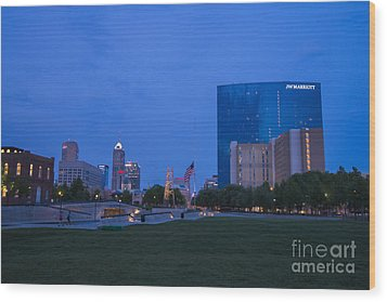Indianapolis Blue Hour Skyline Wood Print by David Haskett