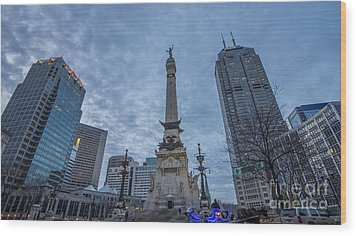 Indianapolis Indiana Monument Circle Blue  Wood Print by David Haskett