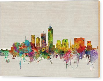 Indianapolis Indiana Skyline Wood Print by Michael Tompsett
