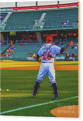 Indianapolis Indians Catcher Wood Print by David Haskett