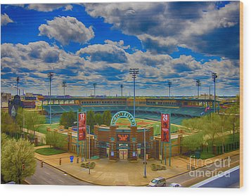 Indianapolis Indians Victory Field Wood Print by David Haskett