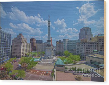 Indianapolis Monument Circle Oil Wood Print by David Haskett