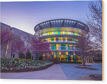 Indianapolis Museum Of Art Blue Hour Lights Wood Print by David Haskett