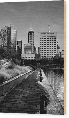 Indianapolis Skyline 21 Wood Print by David Haskett