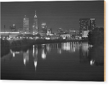 Indianapolis Skyline At Night Indy Downtown Black And White Bw Panorama Wood Print by Jon Holiday