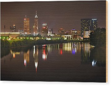 Indianapolis Skyline At Night Indy Downtown Color Panorama Wood Print by Jon Holiday