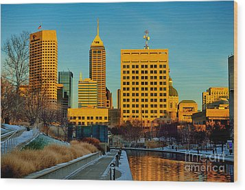 Indianapolis Skyline Dynamic Wood Print by David Haskett