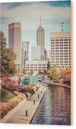 Indianapolis Skyline Old Retro Picture Wood Print by Paul Velgos