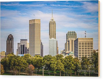 Indianapolis Skyline Picture Wood Print by Paul Velgos