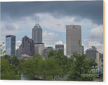 Indianapolis Skyline Storm 3 Wood Print by David Haskett