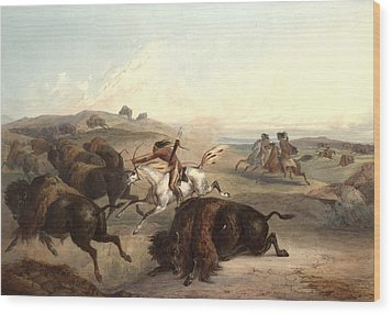 Indians Hunting The Bison Wood Print by Karl Bodmer
