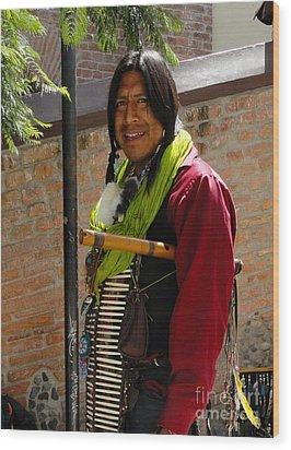 Indigenous Flute Player Wood Print by Al Bourassa