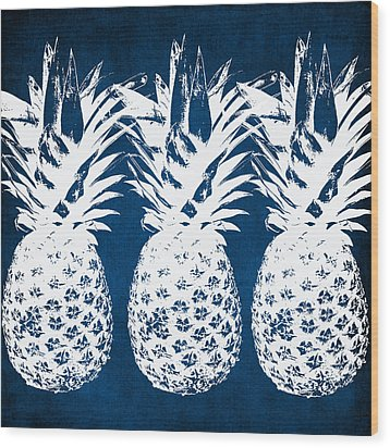 Indigo And White Pineapples Wood Print by Linda Woods
