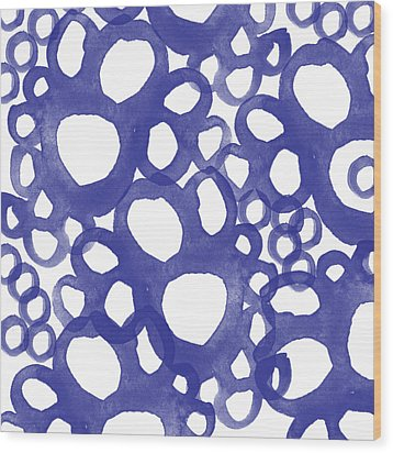 Indigo Bubbles- Contemporary Absrtract Watercolor Wood Print by Linda Woods