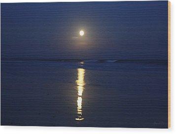 Indigo Moon Wood Print by Amanda Holmes Tzafrir