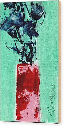 Indigo Roses In Vase Wood Print