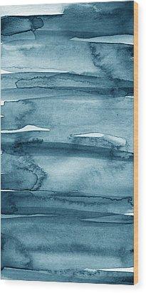 Indigo Water- Abstract Painting Wood Print by Linda Woods