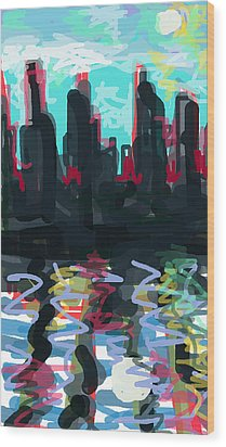 Industrial City On A River  Wood Print by Paul Sutcliffe