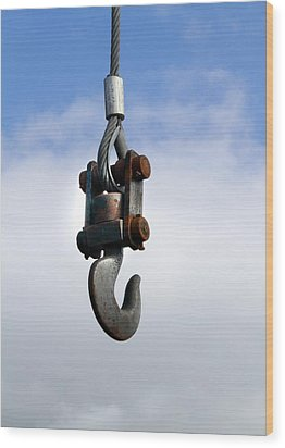Industrial Lifting Hook Wood Print by Science Photo Library
