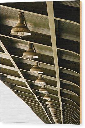 Industrial Lights Wood Print by Randi Kuhne